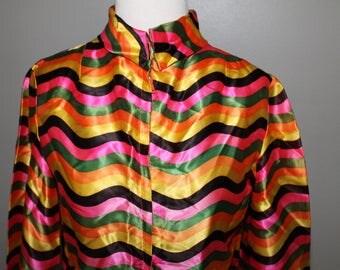 Vintage 70s Mod Satin Striped Rsainbow Jacket Blouse Top  Rave Club Kid Fastival Zip Up
