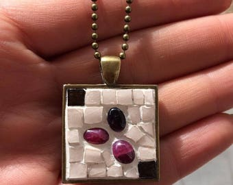 Square pendant NECKLACE with Ruby, Amethyst, Indian and mosaic white