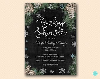 Winter Baby Shower Invitation, Pinecone Invitation, Christmas Party Invitation, Baby It's Cold Baby Shower Invitation TLC491 BS491 WS73