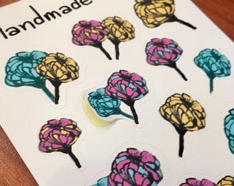 Hand Drawn Flowers Sticker Sheet