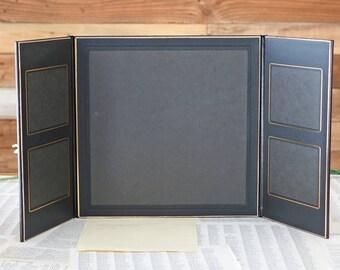 Vintage leather photo album One 10x10 and Four 4x5 Black album photo Art leather