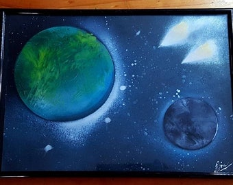 A4 galaxy planets spray painting art