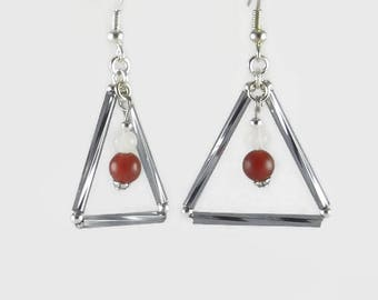 Triangle earrings in twisted glass tubes, jade and agate - Jewelry 123Pierres