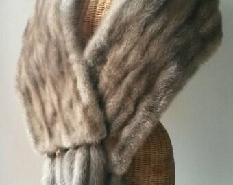Real Steel Grey Sapphire Mink Fur Jacket. Silver Vintage Wrap Shawl Ideal For Winter Wedding Bride. Reenactment Costume. Detachable Tails