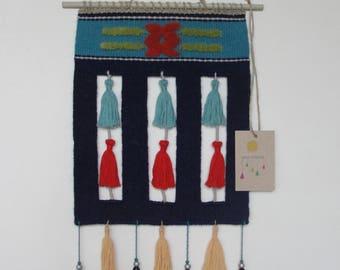 "Woven wall hanging ""Bells"", Handwoven Tapestry Weaving Fiber Art Textile Homedecor Interior Blue Red Yellow Tassels"