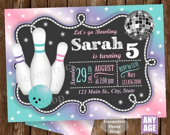 Bowling Party / Bowling Birthday Invitation / Bowling Invite / Girl Invites / Purple / Pink / Teal / Aqua / Green / Printable Digital BDBW11