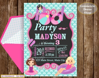 POOL PARTY Invitation, Pool Party, Pool Bash, Birthday Invitation, Birthday Invite Girl Swimming teal purple pink silver #BDP1
