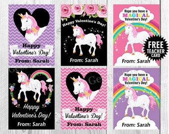 Unicorn / Valentine / Floral / Valentines / Card / Pink / Purple / Chalkboard / Valentine's Day / Rainbow / Tags / teacher / Kids Card22