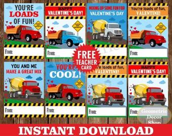 Instant Download / Truck / cars / construction / Valentine / Card / Valentines / Red / orange / blue / Valentine's / Tags / teacher /VCard18