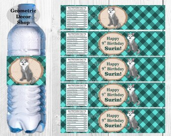 Teal Water Bottle Labels Aqua Lumberjack Birthday Milk Wilderness Buffalo Plaid Lumber Jack great wolf lodge baby shower WLLJ6