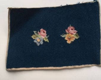 "Vintage Needlepoint With  2 Roses 12L""X8"""