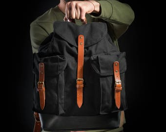 Canvas backpack by Kruk Garage made of hand waxed canvas and leather straps Men's backpack Camping backpack Hiking backpack Travel backpack