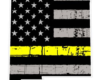 New Mexico State (E32) Thin Yellow Line Dispatch Vinyl Decal Sticker Car/Truck Laptop/Netbook Window