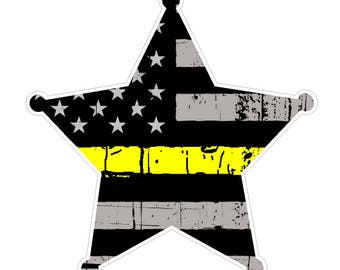 Badge Shape (E54) Thin Yellow Line Dispatch Vinyl Decal Sticker Car Laptop/Netbook Window
