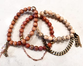 Beaded Stackable Stretch Bracelets in Rose Gold Blush