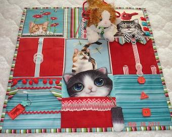 Kitty CAT Fidget Activity Tactile Sensory Quilt Wheelchair Blanket for Alzheimer's stroke autistic dementia anxiety brain trauma