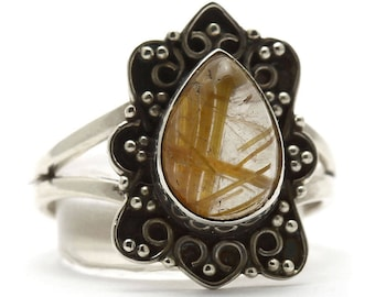 Golden Rutile Ring, 925 Sterling Silver, Unique only 1 piece available! SIZE 5.75 (inner diameter 16.33mm), color yellow, weight 2.7g, #3