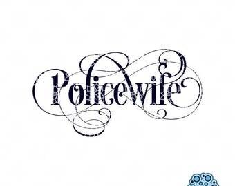 SVG & DXF design - Policewife - True Blue Support cut files (Cricut \ Silhouette)