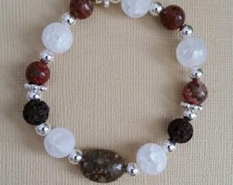 Jasper, Quartz, and Lava Stone Aromatherapy Bracelet