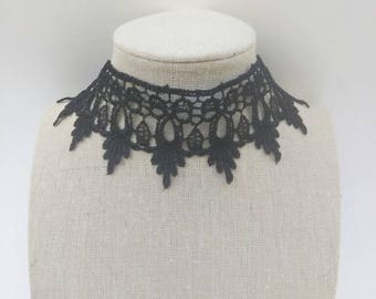 Lace choker - thick choker - black choker - black lace choker necklace - Victorian  choker - goth choker necklace - gift for her