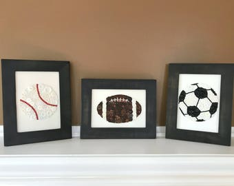 Set of Button Sports Artwork | Button Football | Button Baseball | Button Soccer Ball | Nursey Decor | Boys Room Decor | Button Artwork