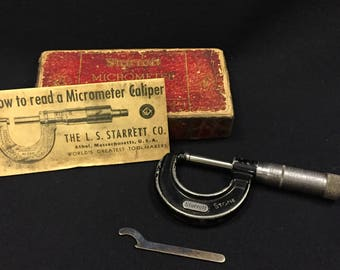 Vintage LS Starrett Micrometer Caliper No. 436 - w/ Original Box & Instructions (Free Shipping)