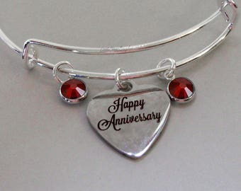 Happy Anniversary  Charm Bracelet W/ Birthstone Drops /  Wedding Day Bangle / Gift For Her  USA # S1 -  05