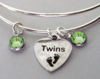 TWINS Charm   Bangle W/ Two Birthstones / New Mother Bangle /  Baby Shower Gift / Adjustable Silver Bangle Under 20  USA TW1
