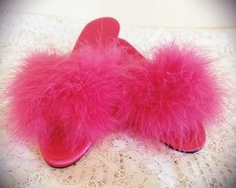 Vintage Marabou Slippers, vintage Chandlers slippers, vintage feather slippers, vintage satin and feather slippers, 1970's slippers,size 6