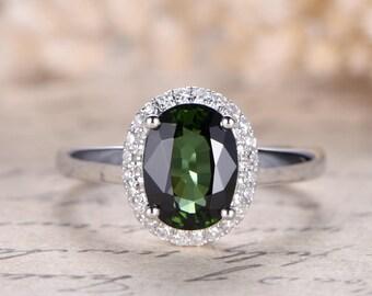 VS Green Tourmaline Engagement Ring Solid 14K White Gold Diamond Ring Natural Tourmaline Ring October Birthstone Ring Floral Diamond HALO