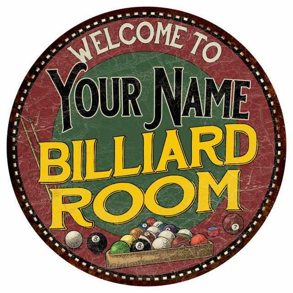 Your Name Billiard Room Round Metal Sign Kitchen Bar Red Wall
