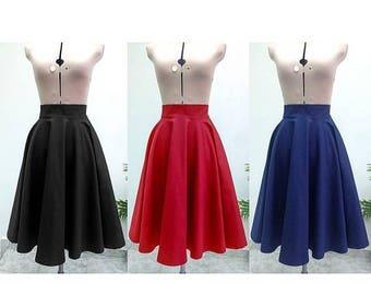 Midi Skirt / Womens Skirts  / Circle Skirt / High Waisted Skirt / Midi Skirt Women / Skirt / Vintage Style Skirt / Cotton Skirt