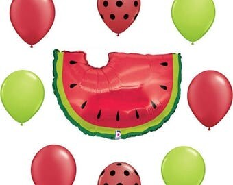 ON SALE WATERMELON Balloons Bouquet Fair Cookout barbecue Summer Picnic yard pool Party Birthday Balloon