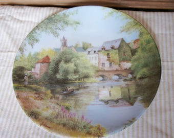 Vintage Collectible 1987 Limited Edition Limoges France Plate N0 398 By Michel Julien, Display, Gift, Countryside, Europe, Cottage Chic,Gift