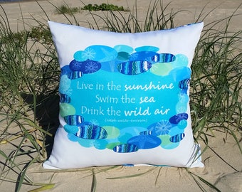 OUTDOOR cushions | decorative pillow cover, live in the sunshine quote, coastal, beach, tropical, Australian shop