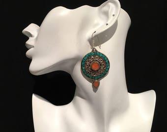 Earring-Vintage Style Earring-Red Earring-Blue  Earring-Handmade Earring.....