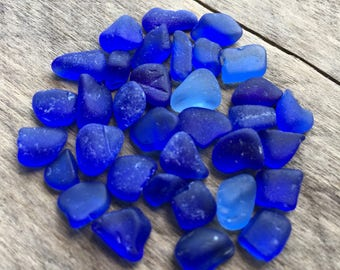 30 + Pieces of Tiny Cobalt Sea Glass