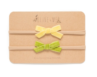 Yellow + Green Velvet Bow Headbands | Set of 2