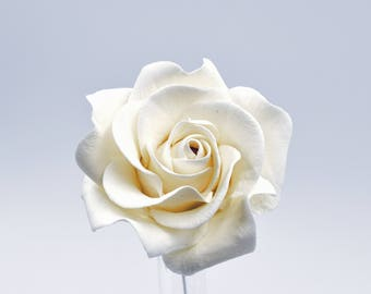 """Small White Rose 2.5"""""""