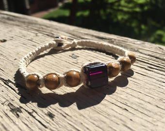 Hemp Bracelet, Macrame Bracelet, Boho Bracelet, Mens Bracelet, Mens Hemp Jewelry, Mens Hemp Bracelet, Purple Bead Bracelet, Natural Bracelet