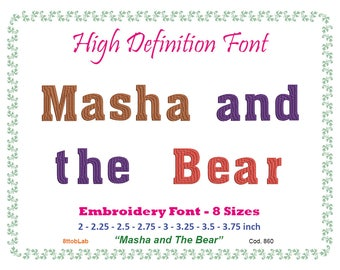 Masha and The Bear Embroidery font 8 size