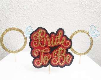 Diamond Ring Cupcake Toppers | Diamond Cupcake Toppers | Bridal Shower Cupcake Toppers | Bride To Be Cupcake Toppers | Red Cupcake Toppers