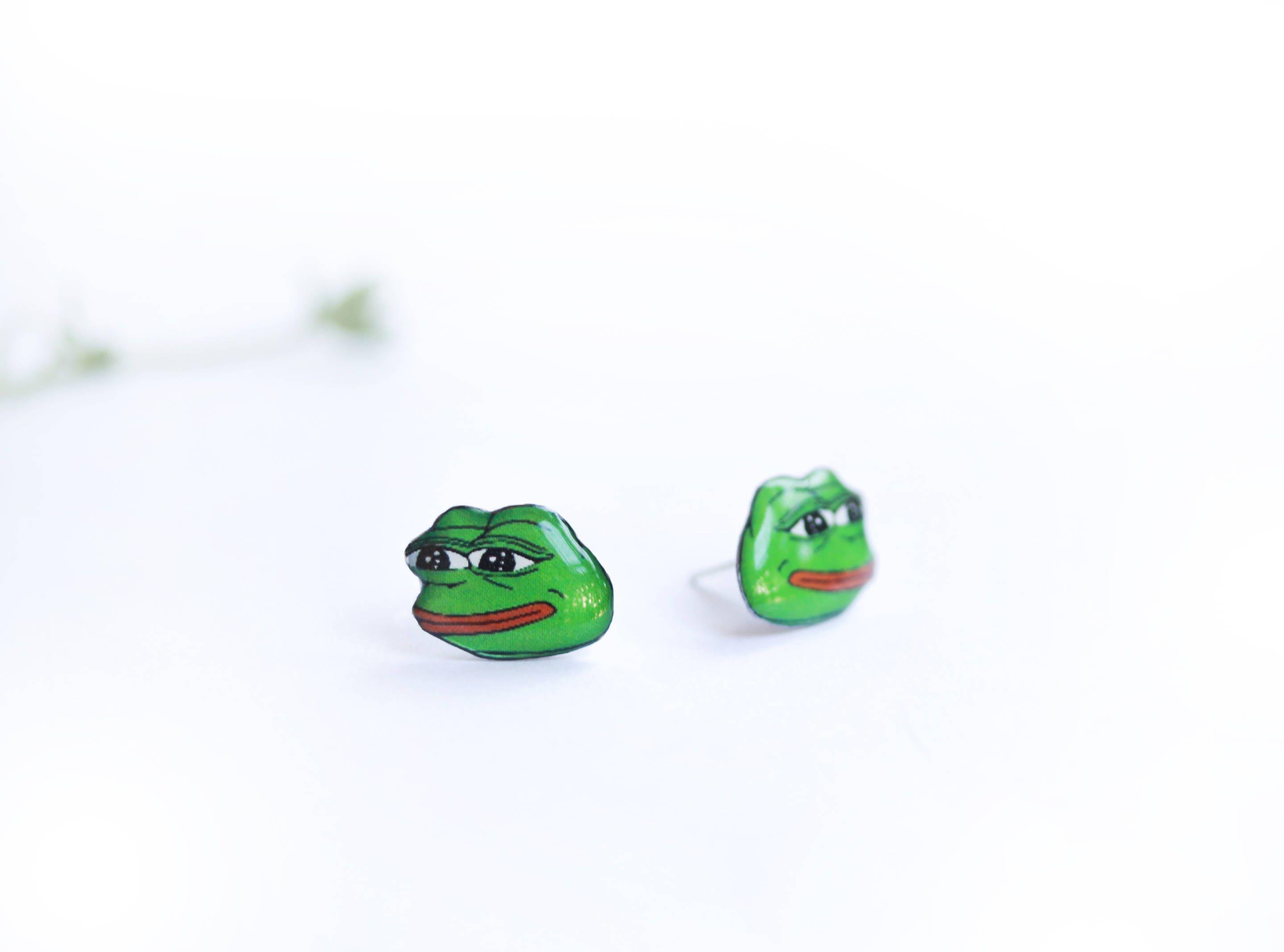Funny Jewelry Meme : Frog meme meme lover gift sad frog meme meme earrings