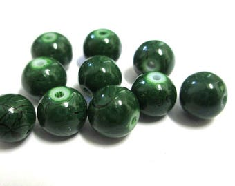 10 green, black round glass beads painted 8mm