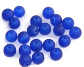 10 glass 8mm dark blue frosted beads