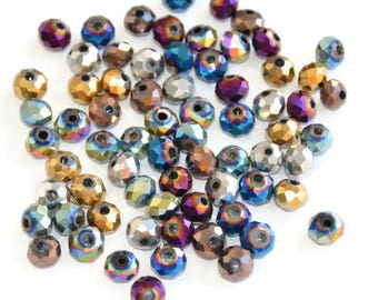 140 beads faceted Crystal blend color 6x5mm