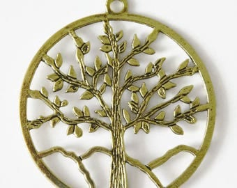 1 large charm tree of life pendant gold antiqued charm 60x56mm