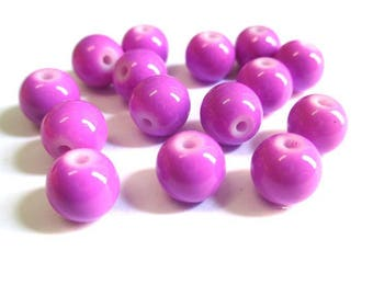 Purple glass painted (R-18) 8mm 10 beads