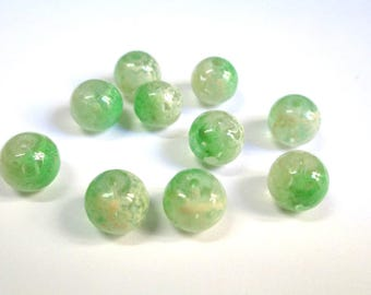 10 pearls light green and white speckled clear 8mm