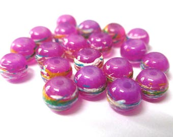 20 drawbench purple multicolor painted glass 6mm beads